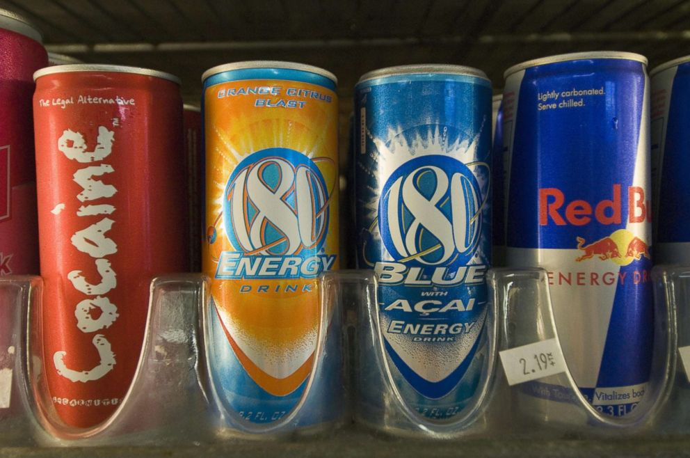 PHOTO: Cans of energy drinks are displayed in a store in San Diego, Calif., Nov. 10, 2006.