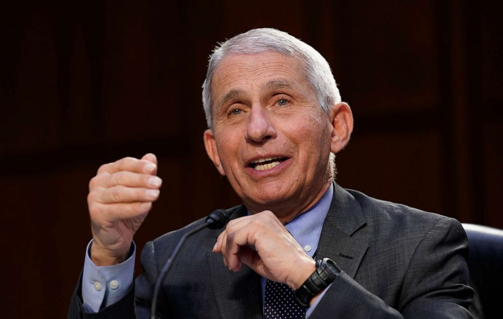PHOTO: Dr. Anthony Fauci, director of the National Institute of Allergy and Infectious Diseases, testifies on Capitol Hill during a hearing on the federal coronavirus response, March 18, 2021, in Washington.