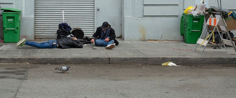 PHOTO: In this undated photo, homeless drug users are shown on the street around San Franciscos Civic Center.