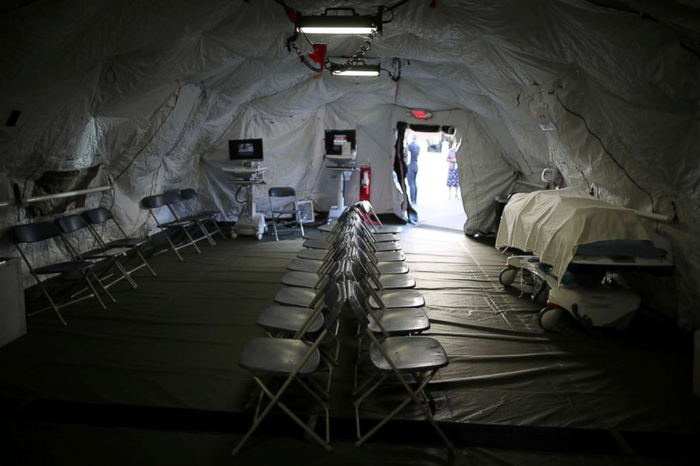 PHOTO: A triage surge tent is seen outside Loma Linda University Health Center for patients infected with an influenza A strain known as H3N2, in Loma Linda, Calif., Jan. 17, 2018.
