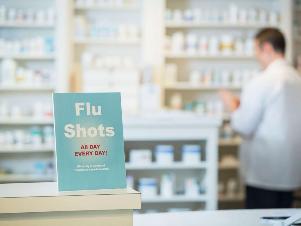 PHOTO: A sign for flu shots is pictured in pharmacy in this undated stock photo.