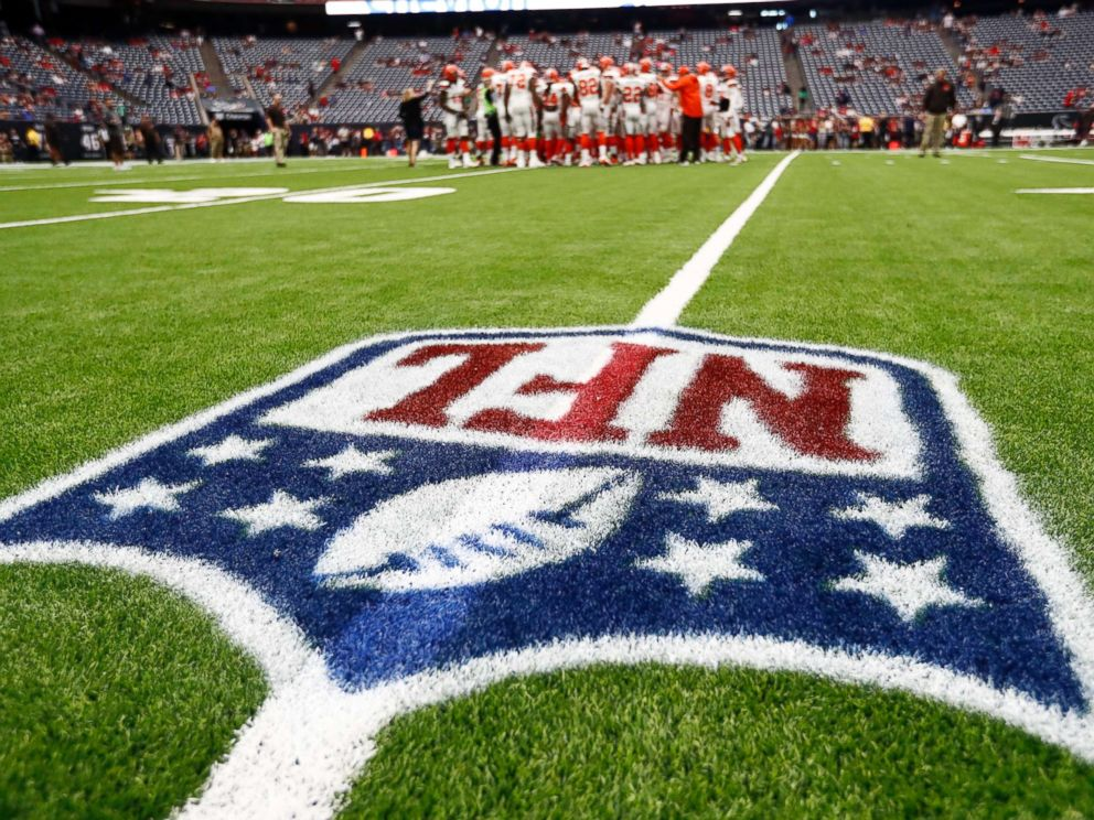 PHOTO: The NFL logo is shown as the Cleveland Browns huddle on the field before an NFL football game against the Houston Texans , Oct. 15, 2017, in Houston.