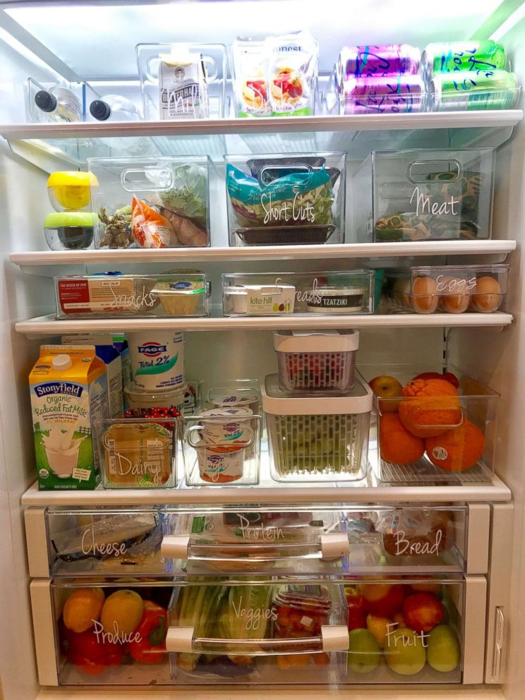 PHOTO: The Food Fix founder Heather Bauer organizes her refrigerator using bins and labels.
