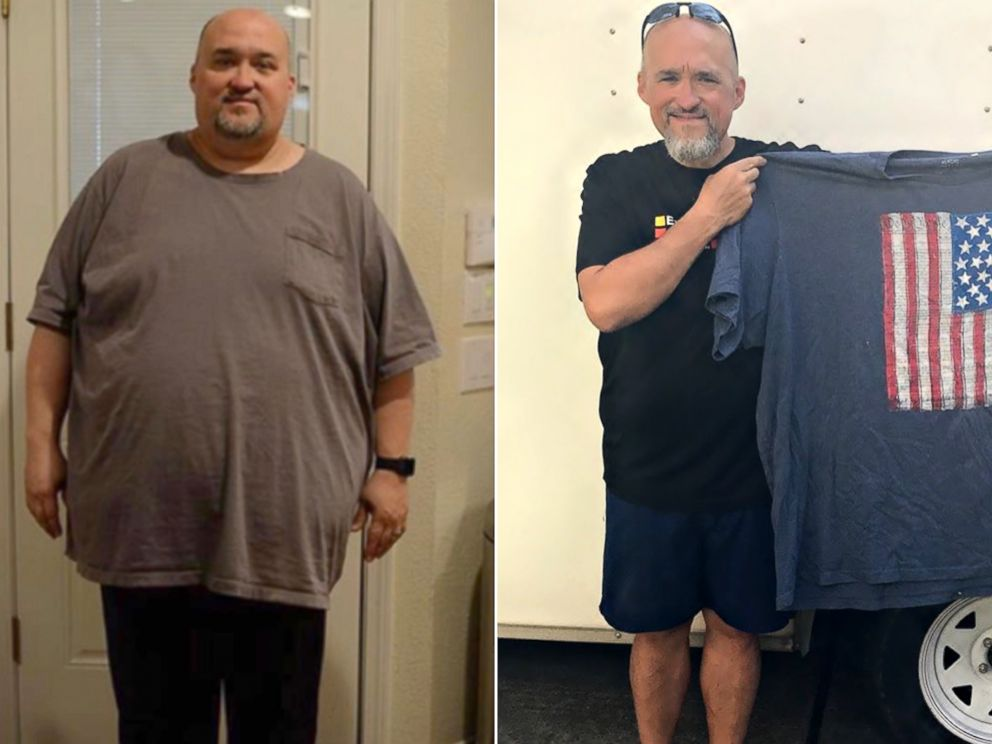PHOTO: Marcus Cook is pictured before and after the weight loss he achieved as a member of the Missing Chins Run Club.