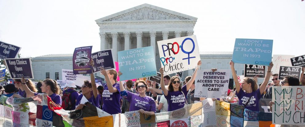 PHOTO: Pro-choice supporters rally outside the Supreme Court before the courts ruling in Whole Womans Health v. Hellerstedt, a case that imposes heavy restrictions on abortion clinics in Texas in Washington on June 27, 2016.