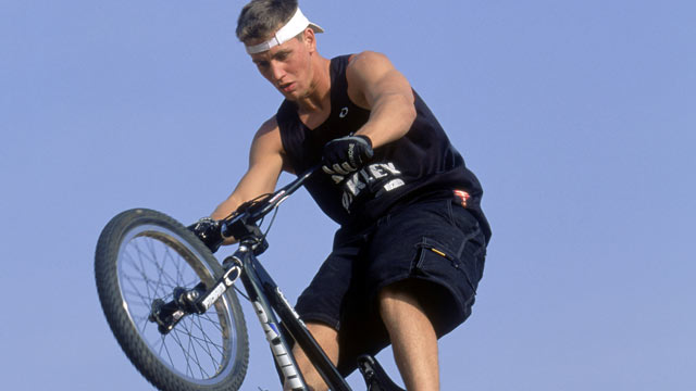 PHOTO: Professional BMX rider Stephen Murray does a trick on a half pipe in Riverside, California, April 10, 2002.