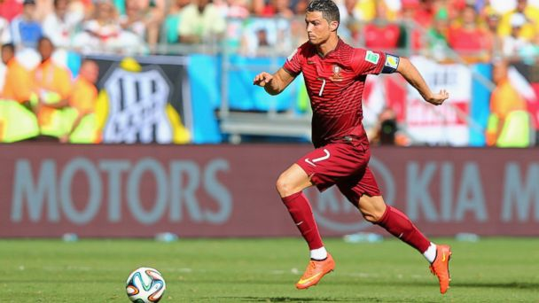 PHOTO: Cristiano Ronaldo of Portugal controls the ball during the 2014 FIFA World Cup Brazil Group G match between Germany and Portugal at Arena Fonte Nova on June 16, 2014 in Salvador, Brazil.