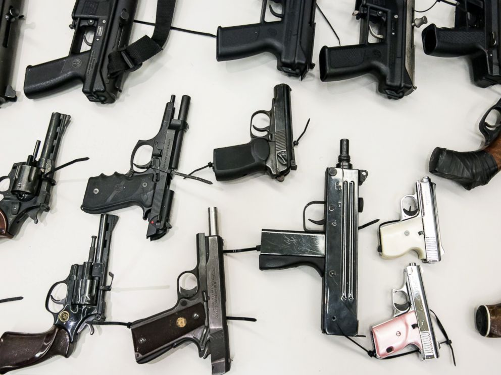 PHOTO: An assortment of hand guns sit on display at a news conference to announce results of the citys Gun Buyback Program, on May 11, 2015 in Los Angeles.