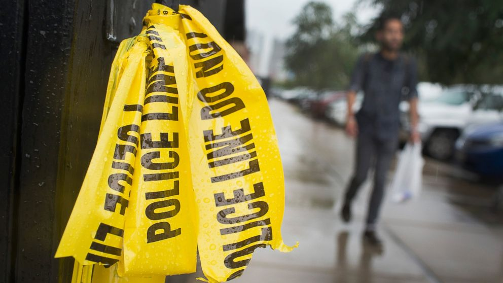 Crime scene tape hangs in the West Loop restaurant district where a 23-year-old man was shot and killed over the Labor Day weekend on Sept. 8, 2015 in Chicago.
