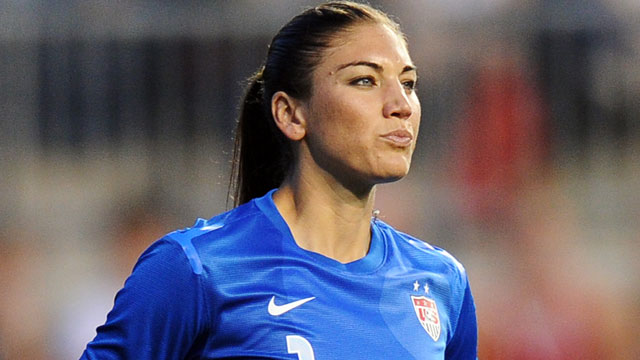 PHOTO: Hope Solo, #1 of the USA, stands in goal during the game against China at PPL Park on May 27, 2012 in Chester, PA.