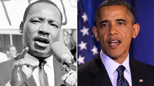 PHOTO: Martin Luther King Jr., left, circa 1970s, left, and President Barack Obama Dec. 3, 2012, at the National Defense University in Washington, D