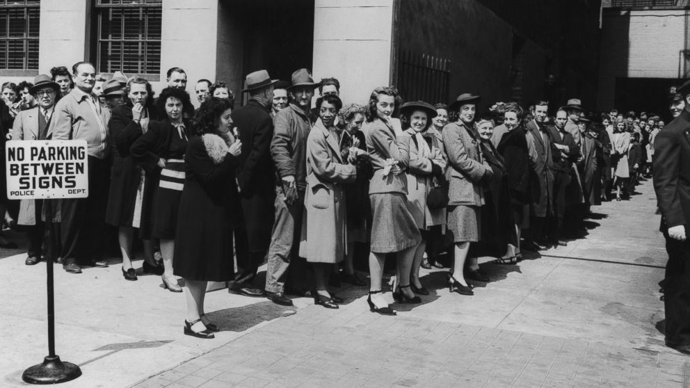 New Yorkers queue up for their free smallpox vaccinations after twelve cases were reported in the state, April 1947.