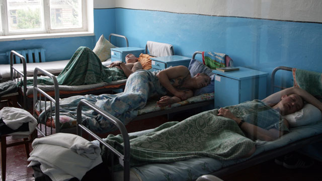 PHOTO: Serious case tubercular patients of the penal colony in the Ukrainian village of Zhdanovka, Donetsk region, sleep in a ward on July 9, 2010.