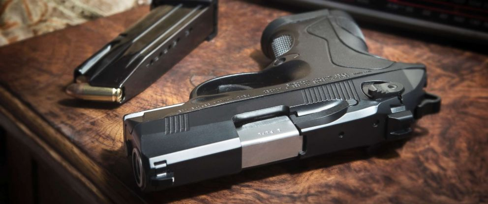 PHOTO: This stock photo depicts a handgun on a nightstand.