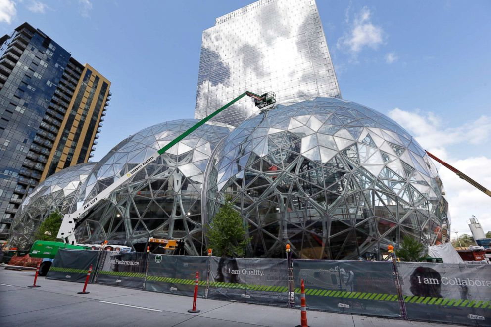 PHOTO: Construction was underway on three large, glass-covered domes as part of an expansion of the Amazon.com campus in downtown Seattle, April 27, 2017.
