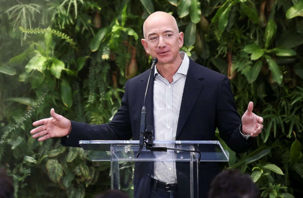 PHOTO: Amazon founder and CEO Jeff Bezos gives closing comments after opening the new Amazon Spheres during an opening event at Amazons headquarters in Seattle, Washington, Jan. 29, 2018.