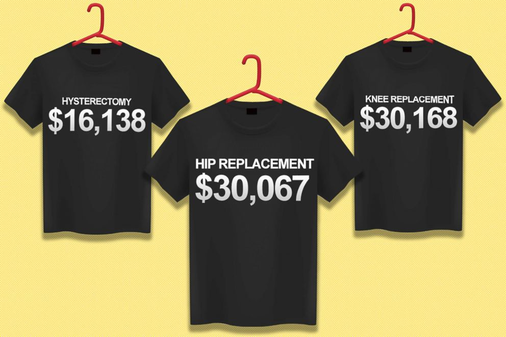 PHOTO: T-shirts depicting the cost of health care procedures are pictured in this illustration.