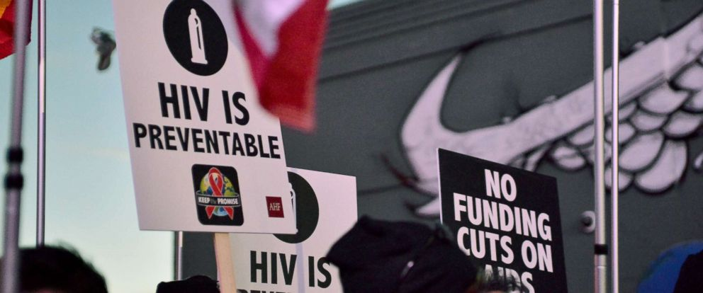 PHOTO: A view of signs at AIDS Healthcare Foundations Keep the Promise March in Hollywood, Calif., Nov. 30, 2016.