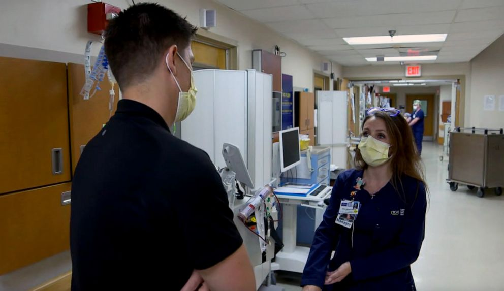 PHOTO: Erika Mergl, Nurse Manager for Tampa General Hospital's Global Emerging Diseases Institute speaks with ABC News' Trevor Ault in Florida.