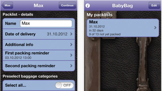 PHOTO: Screen shot of the BabyBag app for iPhone