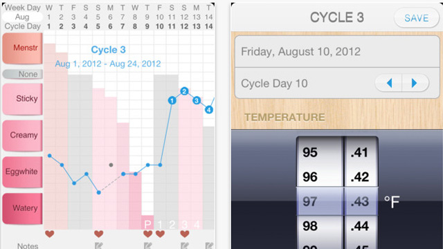 PHOTO: Screen shots of the Kindara Fertility app for iPhone
