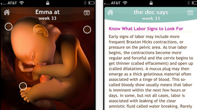 PHOTO: Screen shots of the Pregnancy/Sprout app for iPhone