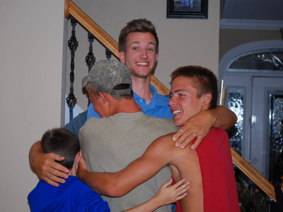 PHOTO: Logdons sons thanked the University of Wisconsin student for helping their father recover from leukemia.