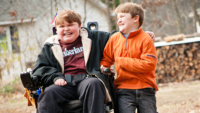 PHOTO: Austin, left, and Max Leclair both have Duchenne muscular dystrophy, but only one gets healing medication.