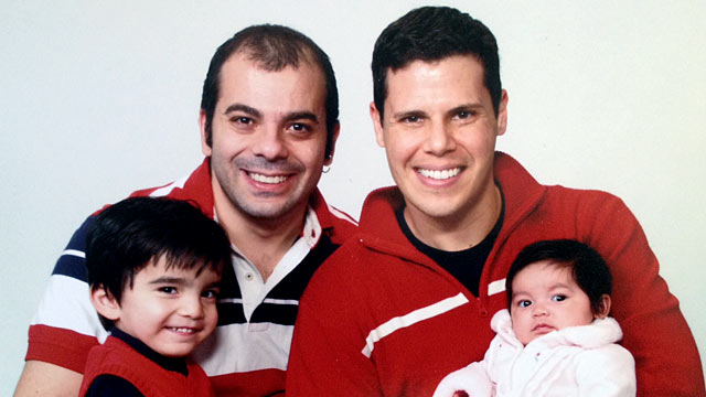 PHOTO: Tom Bourdon, right, and his husband Jimmy are raising two children, Lukas and May.