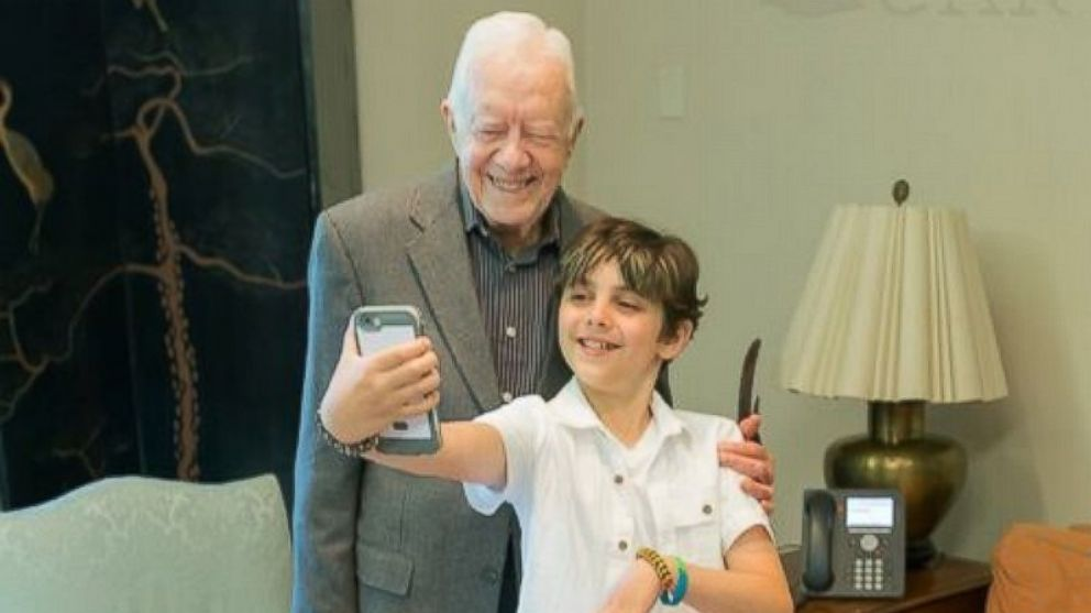 Carter Beckhard-Suozzi, 10, was granted his wish to meet fellow cancer survivor former President Jimmy Carter by the Make-A-Wish Foundation.