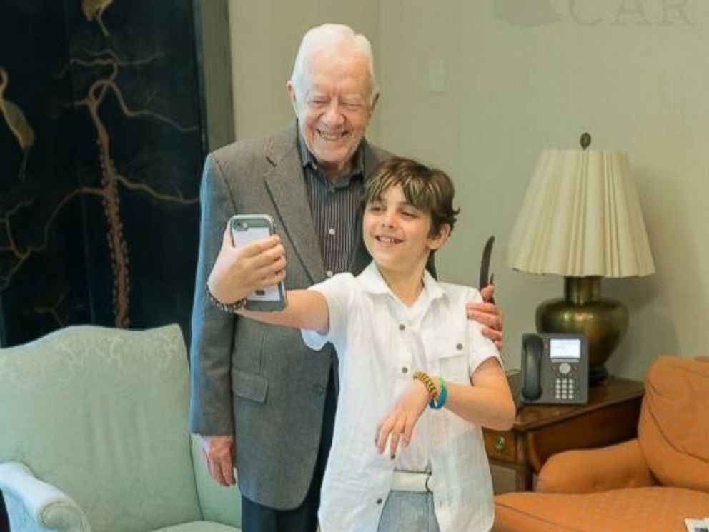 PHOTO: Carter Beckhard-Suozzi, 10, was granted his wish to meet fellow cancer survivor former President Jimmy Carter by the Make-A-Wish Foundation.