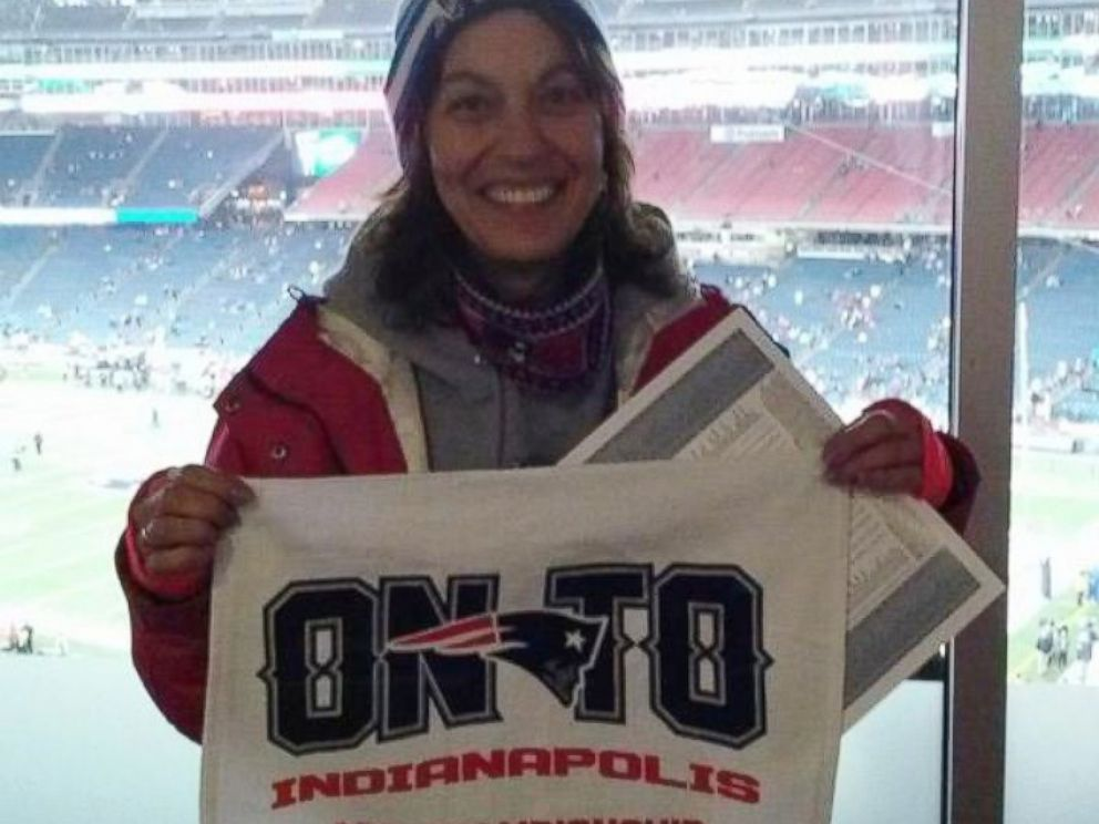 PHOTO: Caption: Cathy Nichols, terminally ill Patriots fan at playoff game in January, 2015.