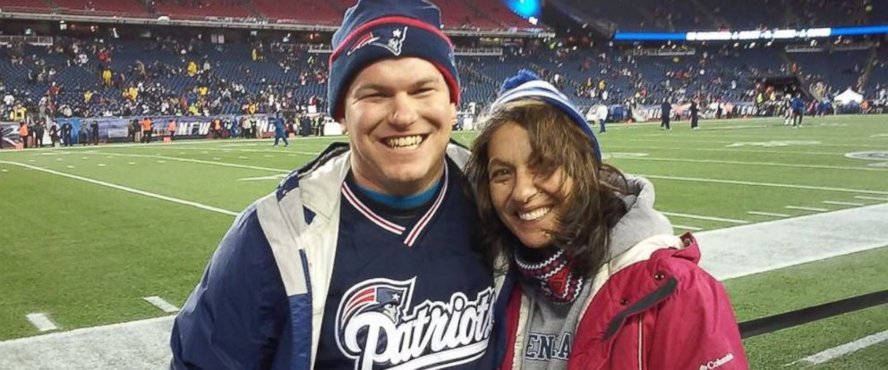 PHOTO: Cathy Nichols and her son Jason at Patriots game, January, 2015.