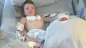 PHOTO Clayton Williams is shown during his stay at Hermann Hospital, in Houston, Texas.