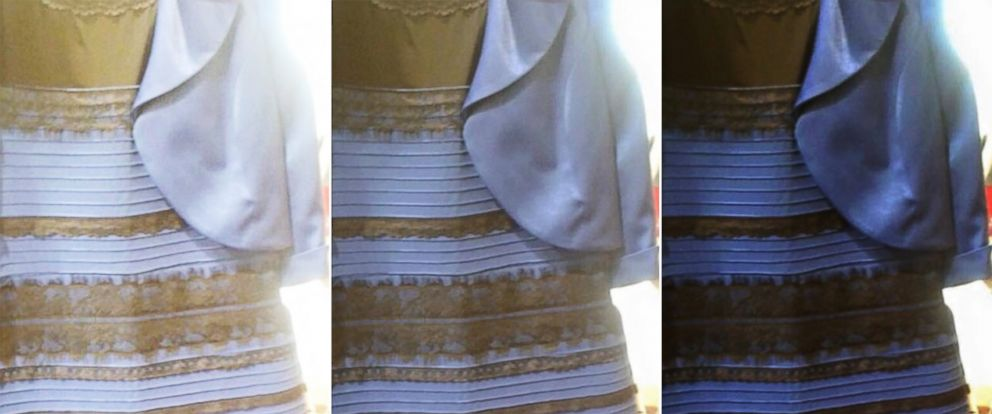 PHOTO: A photo of a dress posted to Tumblr and retoned with Photoshop is seen in its original state, center, lightened on the left, and darkened on the right.