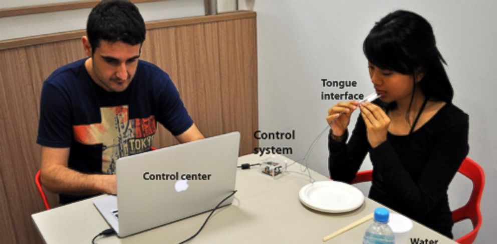 The Digital Lollipop, http://www.nimesha.info/lollipop.html, uses electrical stimulation of the tongue to simulate different taste sensations.