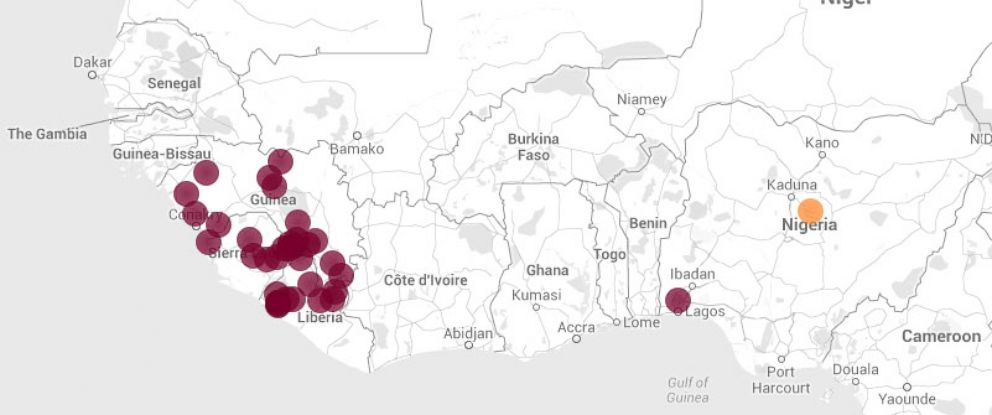PHOTO: A Harvard University School of Medicine computational epidemiologist has created an online Ebola map that tracks how the outbreak spread over time.