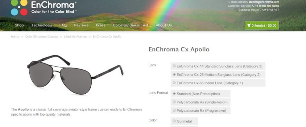 PHOTO: A page from the EnChroma website shows their Cx Apollo glasses which they claim will help enhance the color perception of many people who suffer from color blindness.