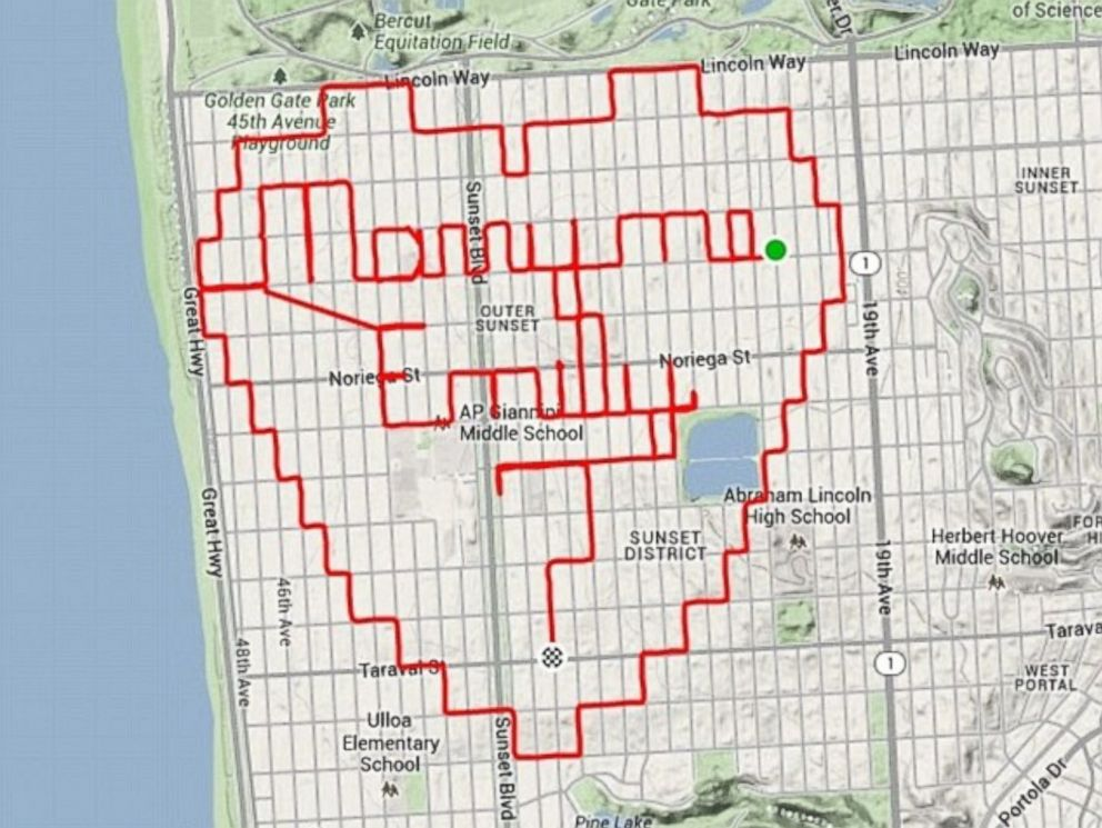PHOTO: This picture of a heart was created using Strava GPS.