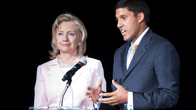 PHOTO:Hillary Clinton and Rajiv Shah