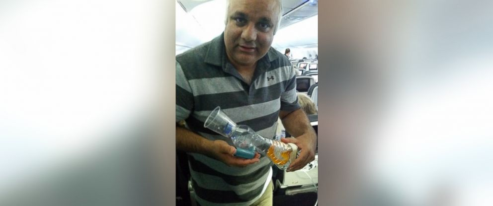 "PHOTO: This photo was uploaded to Twitter on Sept. 18, 2015 with the caption, ""Flying back from ERUS15 had to design a nebuliser for a 2 yr old asthmatic over the atlantic. Thank God kid did well!"""
