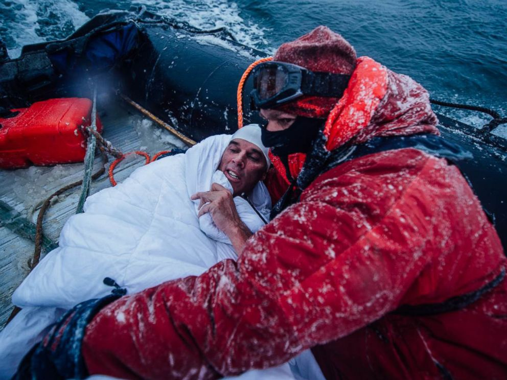 PHOTO: Ocean advocate Lewis Pugh swam for 350 meters in the icy waters of the Bay of Whales in Antarctica's Ross Sea on March 1, 2015.
