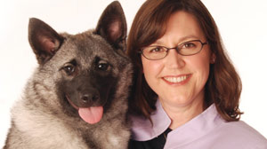PHOTO: Lisa Peterson with ?Linx? a Norwegian Elkhound puppy and great-grandson of ?Basia?