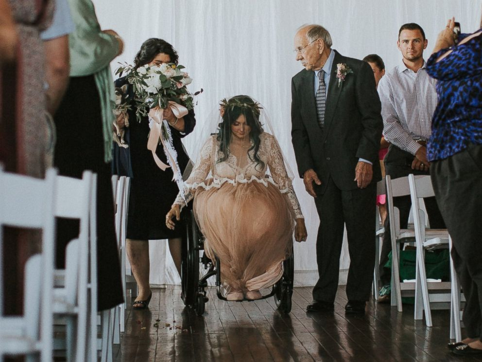 PHOTO: Jaquie Goncher, 25, walked at her wedding in Atlanta in May 2016 after being told by doctors she would never walk again after a pool accident.
