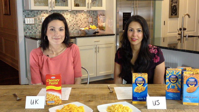 PHOTO: Food bloggers Lisa Leake and Vani Hari sampled Krafts Mac and Cheese; the American version has yellow food coloring and the UK one is additive free.