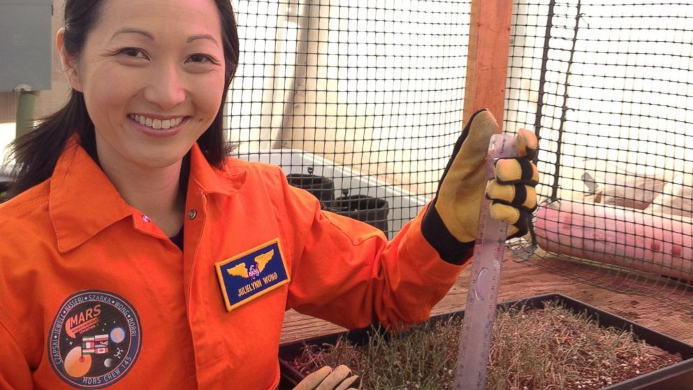 Dr. JulieLynn Wong measures the height of wheatgrass in Mars Mission Simulator's greenhouse.