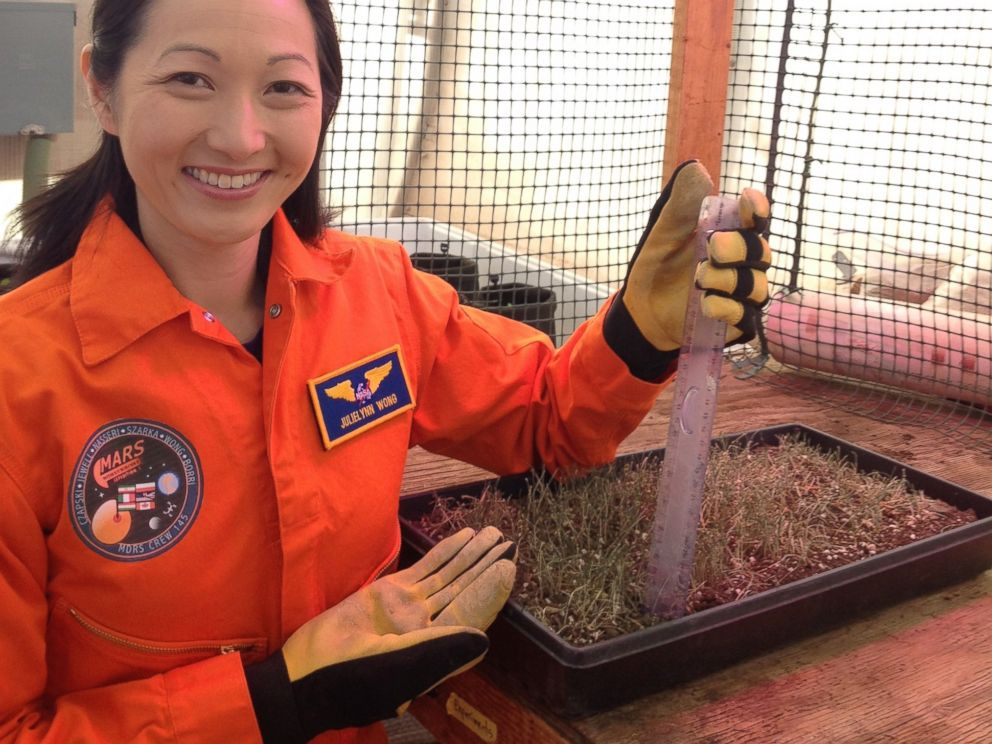 PHOTO: Dr. JulieLynn Wong measures the height of wheatgrass in Mars Mission Simulators greenhouse.