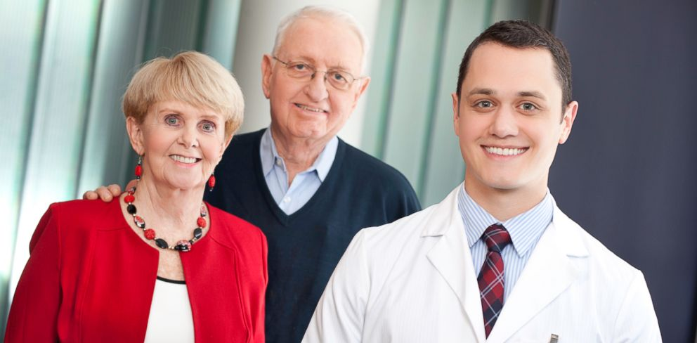 PHOTO: Med student Ryan Jones, right, with Jim and Louise Malloy. During a training session, Jones discovered that Jim Malloy had a real, and potentially deadly, health condition.