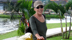 Nicky, a former French teacher who is terminally ill with ovarian cancer, was part of a New York University study to use hallucinogens to ease anxiety and more easily face death. She is shown here on vacation in Bali.