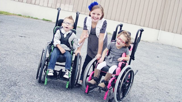 PHOTO: From left, Jayden Owens, Maddy Owens and Angela Owens. Adam and Karen Owens adopted Angela last year and brought her home, Dec. 10, 2011. Jayden joined the family over the summer.